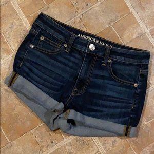 American Eagle hi rise shortie jean shorts size 4